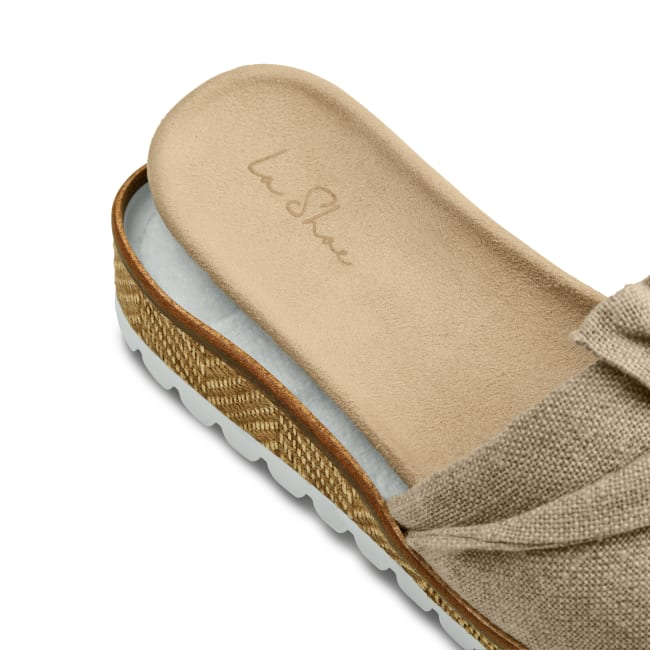 Pantolette mit Schleife Bast – modischer und bequemer Schuh für Hallux valgus und empfindliche Füße von LaShoe.de