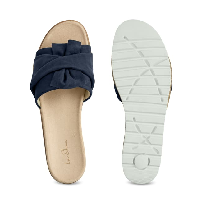 Pantolette mit Schleife Marine – modischer und bequemer Schuh für Hallux valgus und empfindliche Füße von LaShoe.de