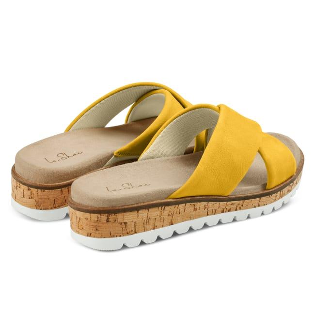 Pantolette mit Kreuzriemen Senfgelb – modischer und bequemer Schuh für Hallux valgus und empfindliche Füße von LaShoe.de