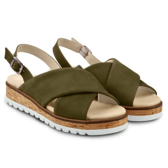 Sandale mit Kreuzriemen Khaki – modischer und bequemer Schuh für Hallux valgus und empfindliche Füße von LaShoe.de