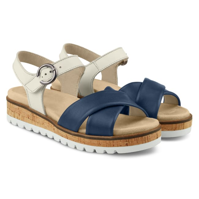 Sandale zweifarbig mit Kreuzriemen Marine – modischer und bequemer Schuh für Hallux valgus und empfindliche Füße von LaShoe.de