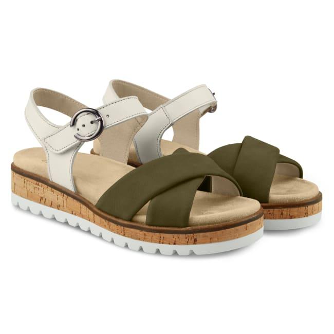 Sandale zweifarbig mit Kreuzriemen Khaki – modischer und bequemer Schuh für Hallux valgus und empfindliche Füße von LaShoe.de
