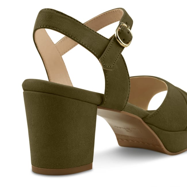 Sandale mit Plateauabsatz Khaki – modischer und bequemer Schuh für Hallux valgus und empfindliche Füße von LaShoe.de