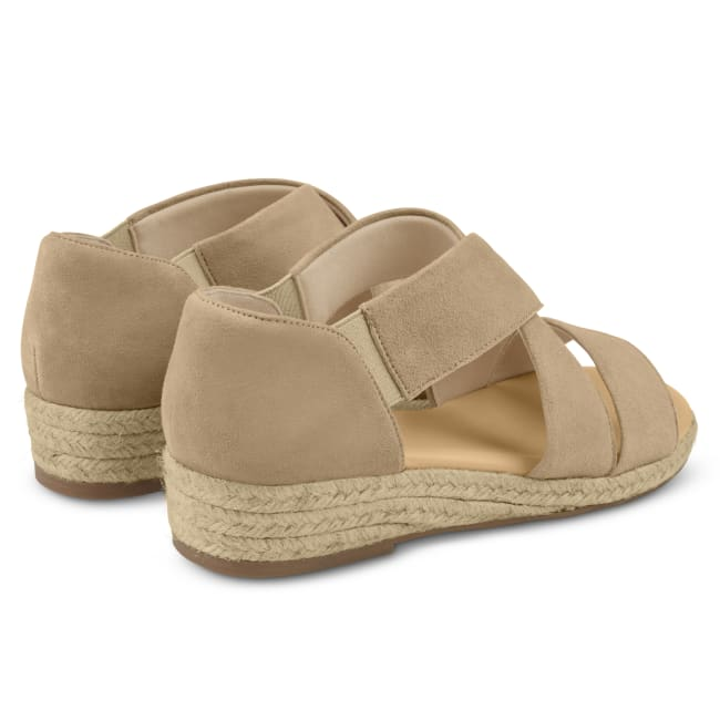 Sandale mit Keilabsatz und Kreuzriemen Beige – modischer und bequemer Schuh für Hallux valgus und empfindliche Füße von LaShoe.de