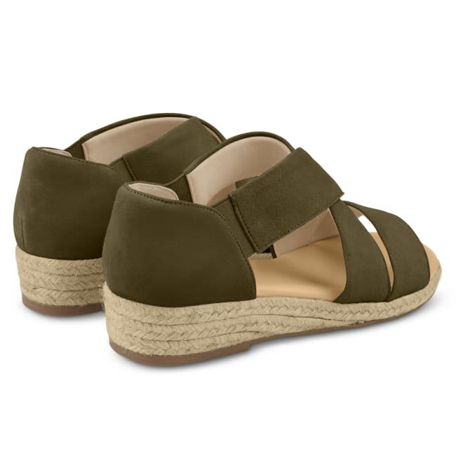 Sandale mit Keilabsatz und Kreuzriemen Khaki – modischer und bequemer Schuh für Hallux valgus und empfindliche Füße von LaShoe.de
