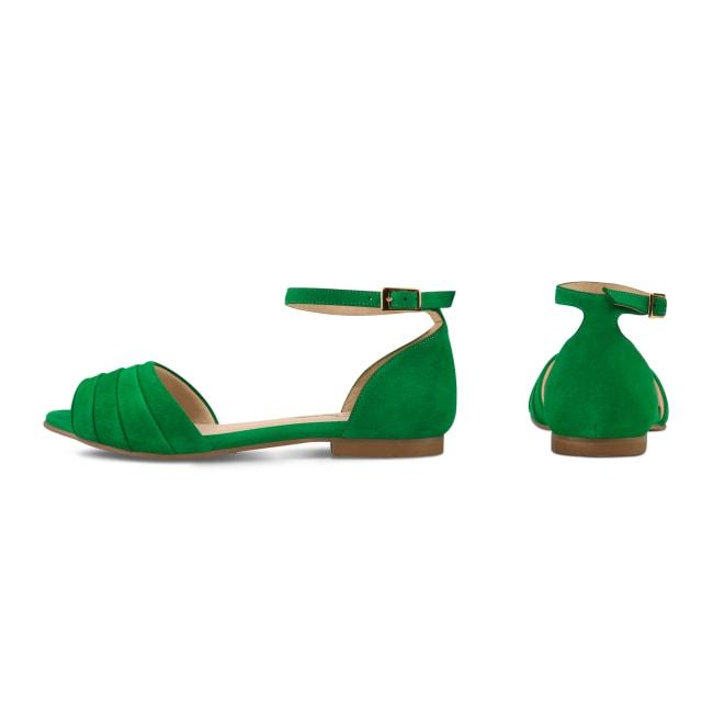 Sandale mit gefaltetem Riemchen Grün – modischer und bequemer Schuh für Hallux valgus und empfindliche Füße von LaShoe.de