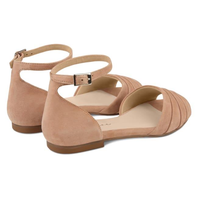 Sandale mit gefaltetem Riemchen Nude – modischer und bequemer Schuh für Hallux valgus und empfindliche Füße von LaShoe.de
