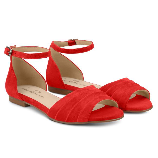 Sandale mit gefaltetem Riemchen Rot – modischer und bequemer Schuh für Hallux valgus und empfindliche Füße von LaShoe.de