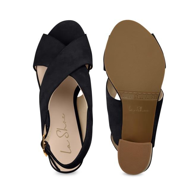 Sandalette mit Korkabsatz Schwarz – modischer und bequemer Schuh für Hallux valgus und empfindliche Füße von LaShoe.de