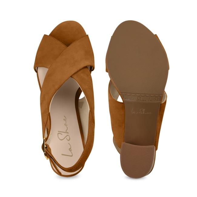 Sandalette mit Korkabsatz Cognac – modischer und bequemer Schuh für Hallux valgus und empfindliche Füße von LaShoe.de