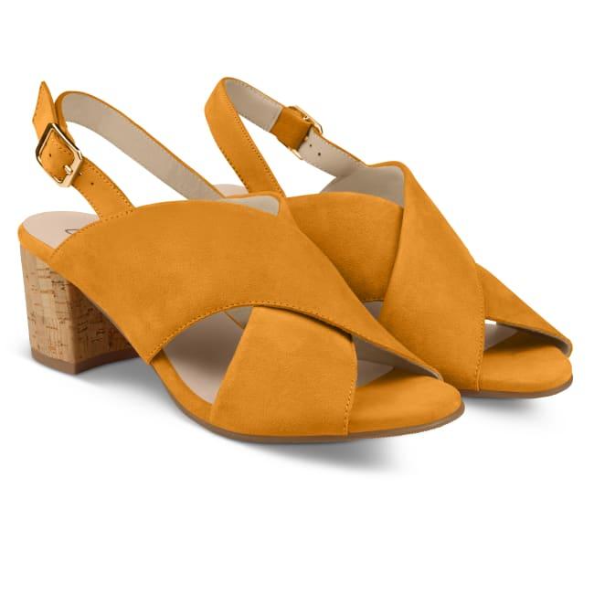 Sandalette mit Korkabsatz Senfgelb – modischer und bequemer Schuh für Hallux valgus und empfindliche Füße von LaShoe.de