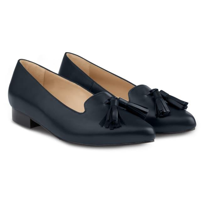 Femininer Loafer mit Tasseln Nappaleder Marine – modischer und bequemer Schuh für Hallux valgus und empfindliche Füße von LaShoe.de