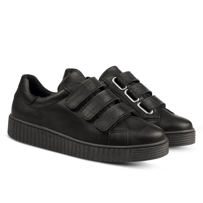 Sneaker Retro mit Klettverschluss Schwarz – modischer und bequemer Schuh für Hallux valgus und empfindliche Füße von LaShoe.de