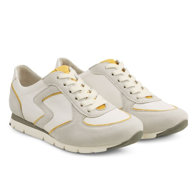 Premium Sneaker Colourline Weiß/Gelb – modischer und bequemer Schuh für Hallux valgus und empfindliche Füße von LaShoe.de