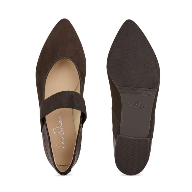 Ballerina mit Kroko und Stretchriemchen Dunkelbraun – modischer und bequemer Schuh für Hallux valgus und empfindliche Füße von LaShoe.de