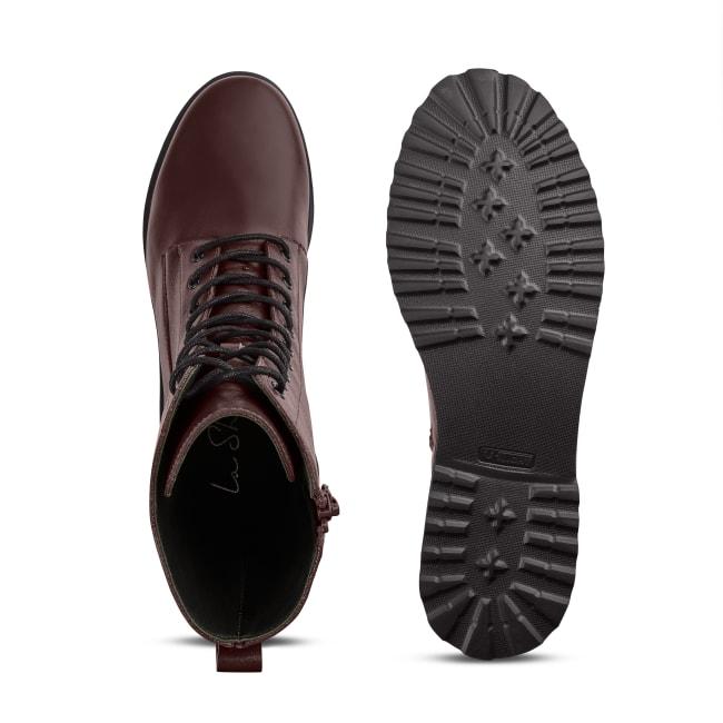 Schnürboot im Combat-Style mit Wechselfußbett Bordeaux – modischer und bequemer Schuh für Hallux valgus und empfindliche Füße von LaShoe.de