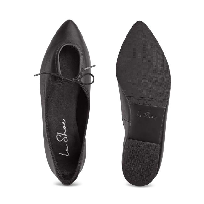 Ballerina Spitz mit Schlaufendetail Schwarz – modischer und bequemer Schuh für Hallux valgus und empfindliche Füße von LaShoe.de