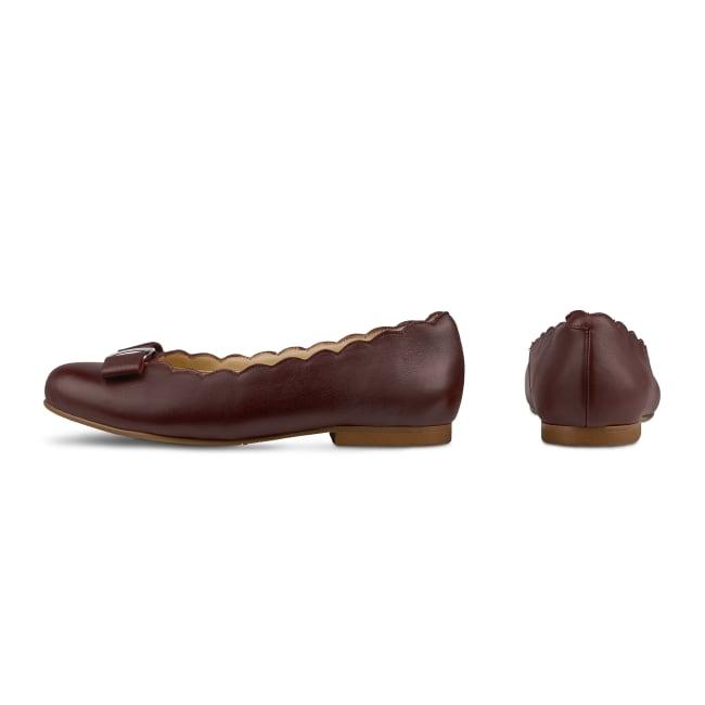 Ballerina mit Wellenkante und Schleife Bordeaux – modischer und bequemer Schuh für Hallux valgus und empfindliche Füße von LaShoe.de