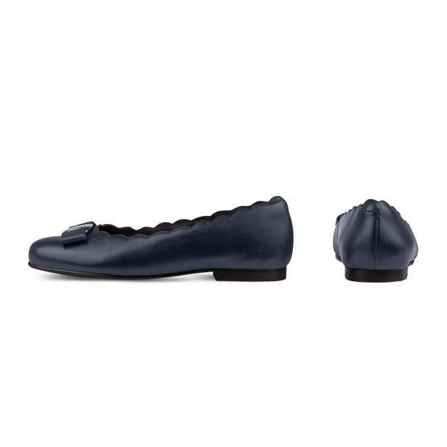 Ballerina mit Wellenkante und Schleife Marine – modischer und bequemer Schuh für Hallux valgus und empfindliche Füße von LaShoe.de
