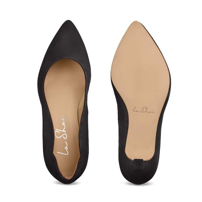Pumps mit geschwungenem Ausschnitt Velours Schwarz – modischer und bequemer Schuh für Hallux valgus und empfindliche Füße von LaShoe.de
