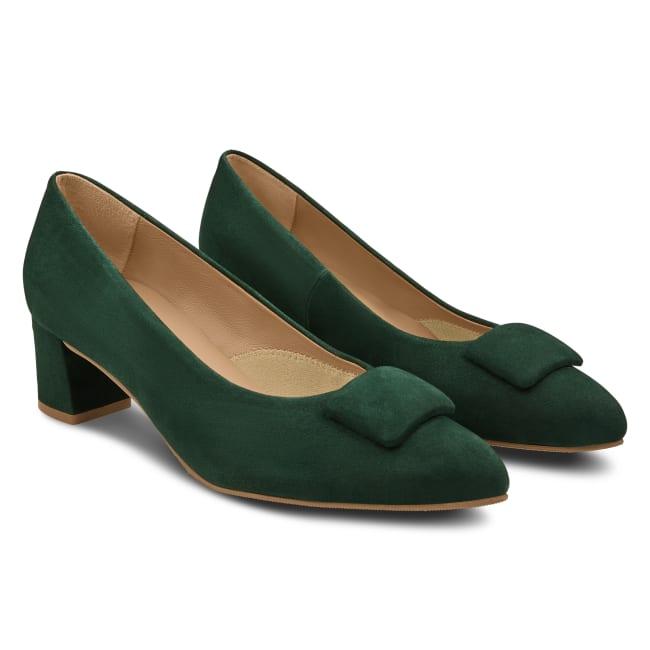 Pumps Spitz mit Kissen Dunkelgrün – modischer und bequemer Schuh für Hallux valgus und empfindliche Füße von LaShoe.de