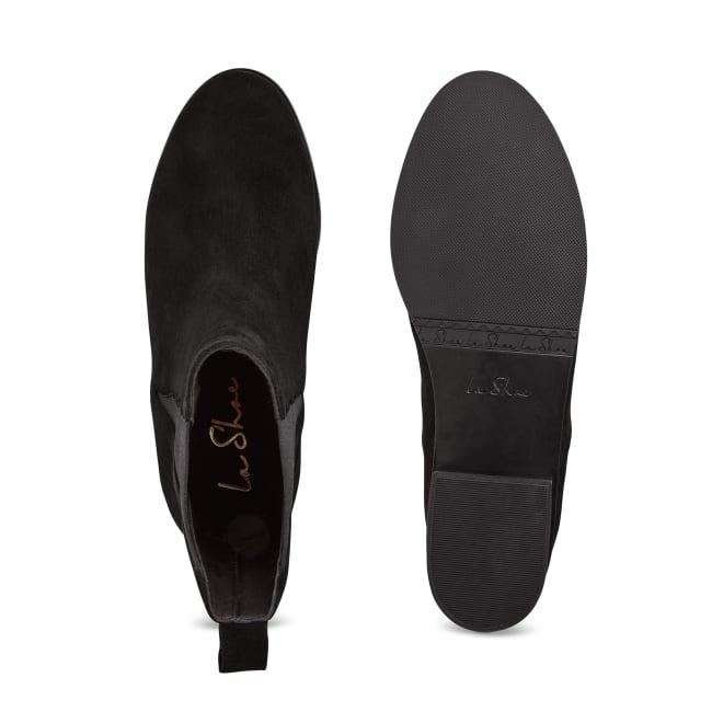 Chelsea-Stiefelette mit Welleneinsatz Schwarz – modischer und bequemer Schuh für Hallux valgus und empfindliche Füße von LaShoe.de