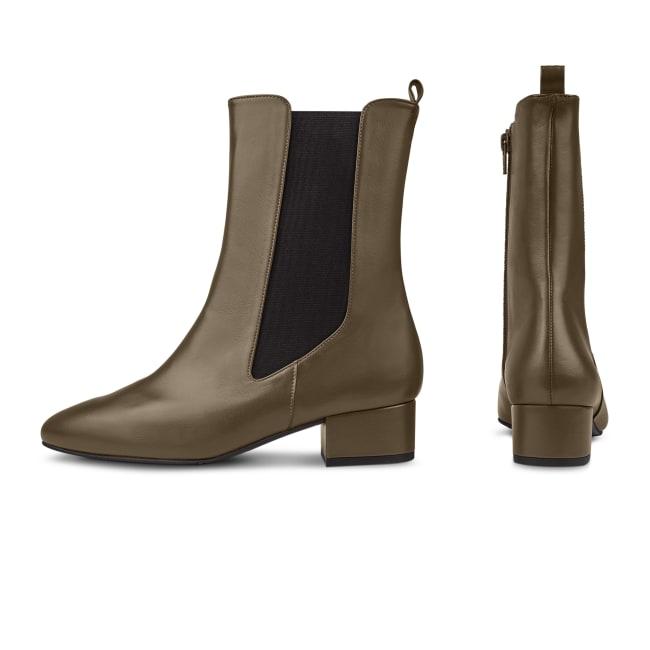 Chelsea-Stiefelette mit hohem Schaft Khaki – modischer und bequemer Schuh für Hallux valgus und empfindliche Füße von LaShoe.de