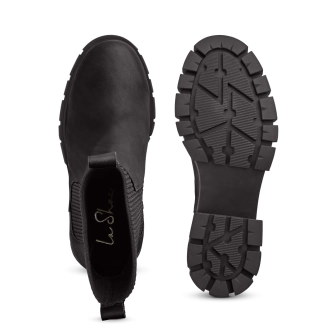 Chunky Chelsea mit Rippeinsatz Schwarz – modischer und bequemer Schuh für Hallux valgus und empfindliche Füße von LaShoe.de
