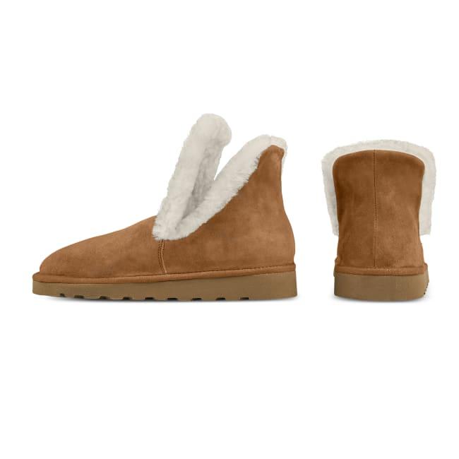 Lammfellbootie In- & Outdoor Cognac – modischer und bequemer Schuh für Hallux valgus und empfindliche Füße von LaShoe.de