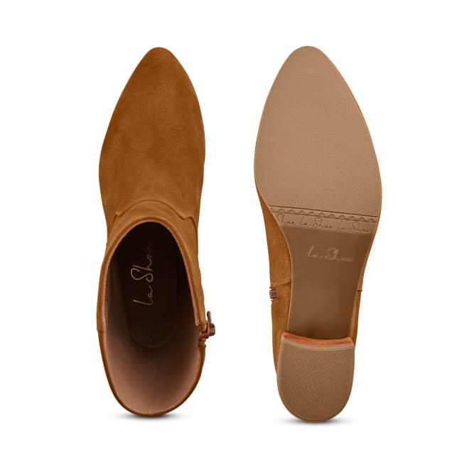 Bootie mit Absatz und rundem Schaft Cognac – modischer und bequemer Schuh für Hallux valgus und empfindliche Füße von LaShoe.de
