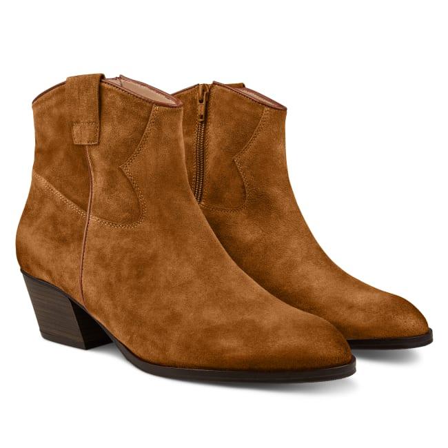 Western Stiefelette Cognac – modischer und bequemer Schuh für Hallux valgus und empfindliche Füße von LaShoe.de