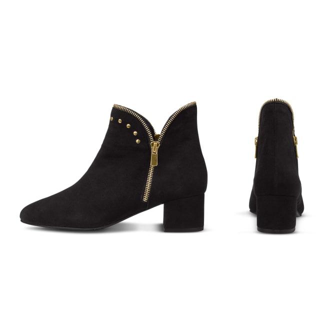 Western-Stiefelette mit Nieten Schwarz – modischer und bequemer Schuh für Hallux valgus und empfindliche Füße von LaShoe.de