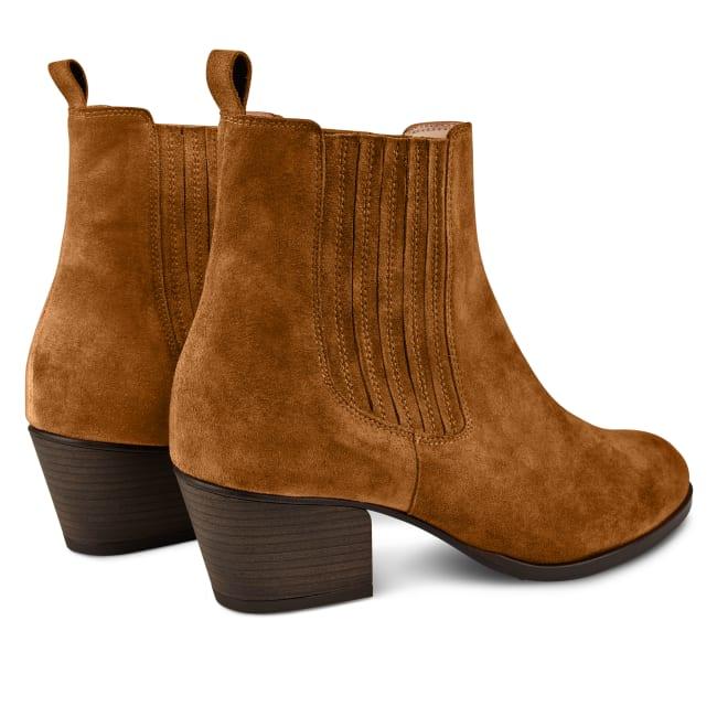 Western-Stiefelette Chelsea Style Cognac – modischer und bequemer Schuh für Hallux valgus und empfindliche Füße von LaShoe.de