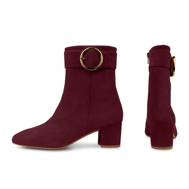Stiefelette mit großer Schnalle Bordeaux – modischer und bequemer Schuh für Hallux valgus und empfindliche Füße von LaShoe.de