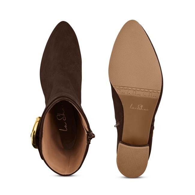 Stiefelette mit großer Schnalle Braun – modischer und bequemer Schuh für Hallux valgus und empfindliche Füße von LaShoe.de