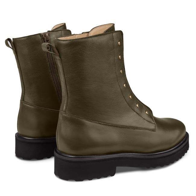 Combat Boot mit Nieten und Wechselfußbett Khaki – modischer und bequemer Schuh für Hallux valgus und empfindliche Füße von LaShoe.de