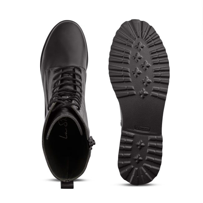 Schnürboot im Combat-Style mit Wechselfußbett Schwarz – modischer und bequemer Schuh für Hallux valgus und empfindliche Füße von LaShoe.de