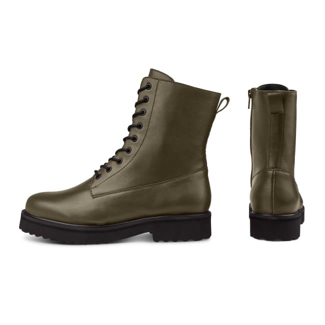 Schnürboot im Combat-Style mit Wechselfußbett Khaki – modischer und bequemer Schuh für Hallux valgus und empfindliche Füße von LaShoe.de