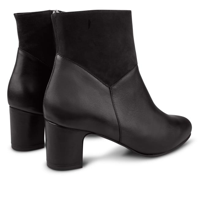 Elegante Stiefelette Materialmix Schwarz – modischer und bequemer Schuh für Hallux valgus und empfindliche Füße von LaShoe.de