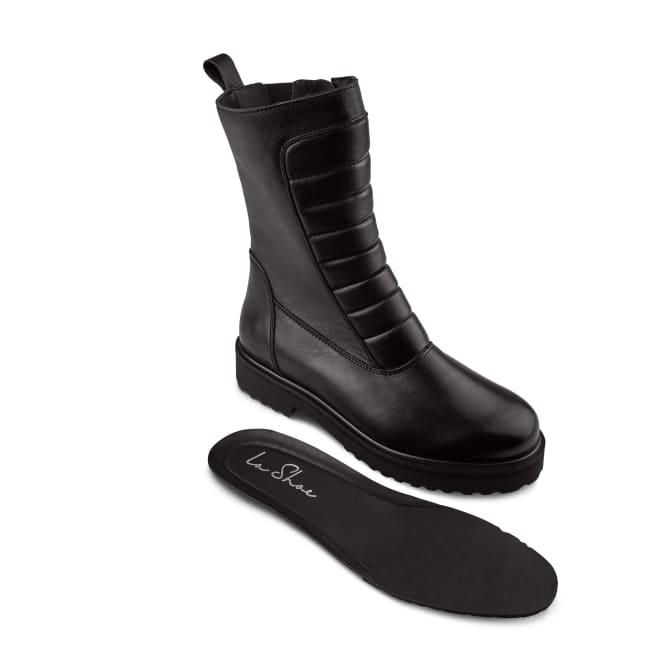 Biker Boot mit Plateausohle und Wechselfußbett Schwarz – modischer und bequemer Schuh für Hallux valgus und empfindliche Füße von LaShoe.de
