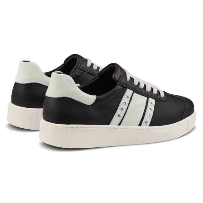 Sneaker Retro mit Flagge Schwarz – modischer und bequemer Schuh für Hallux valgus und empfindliche Füße von LaShoe.de