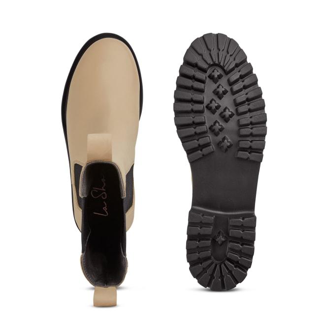 Chunky Chelseaboot Beige – modischer und bequemer Schuh für Hallux valgus und empfindliche Füße von LaShoe.de