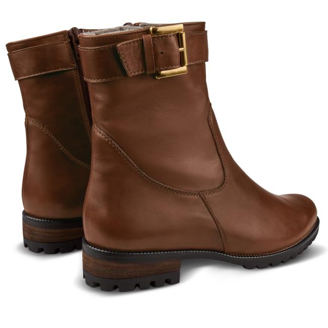 Lammfell Stiefelette mit Schnalle Braun – modischer und bequemer Schuh für Hallux valgus und empfindliche Füße von LaShoe.de