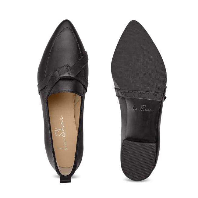Loafer Spitz mit Schleifendetail Schwarz – modischer und bequemer Schuh für Hallux valgus und empfindliche Füße von LaShoe.de