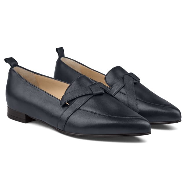 Loafer Spitz mit Schleifendetail Marine – modischer und bequemer Schuh für Hallux valgus und empfindliche Füße von LaShoe.de