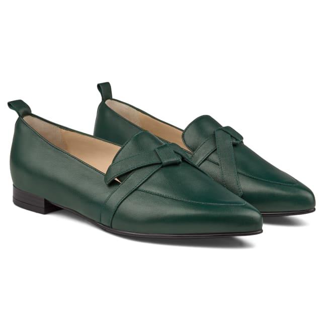 Loafer Spitz mit Schleifendetail Dunkelgrün – modischer und bequemer Schuh für Hallux valgus und empfindliche Füße von LaShoe.de