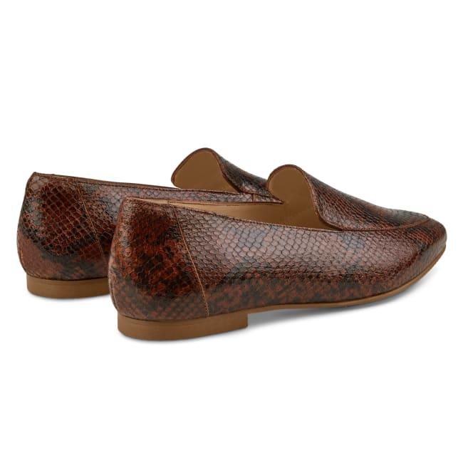 Loafer Karree Snake Braun – modischer und bequemer Schuh für Hallux valgus und empfindliche Füße von LaShoe.de
