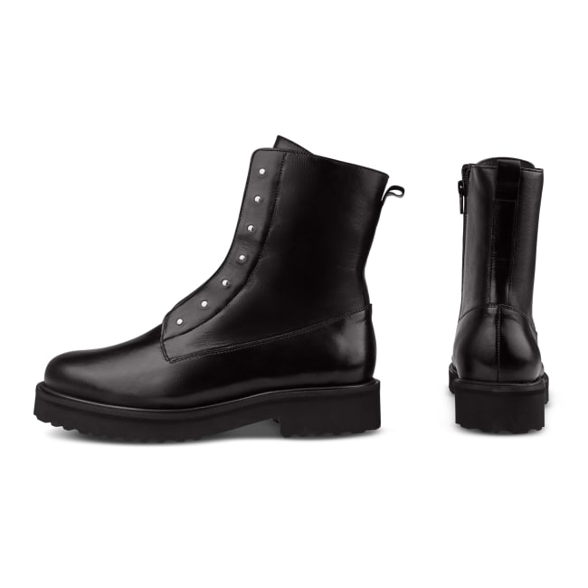 Combat Boot mit Nieten und Wechselfußbett Schwarz – modischer und bequemer Schuh für Hallux valgus und empfindliche Füße von LaShoe.de