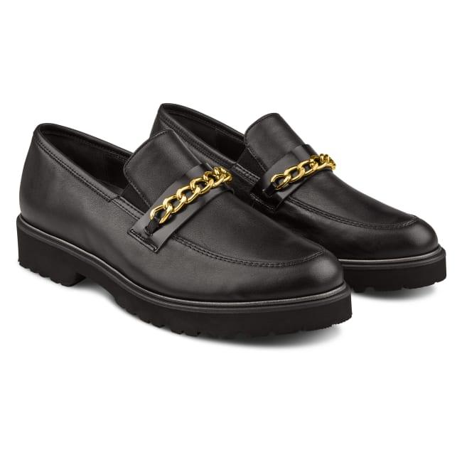 Premium Loafer mit Kettendetail Schwarz – modischer und bequemer Schuh für Hallux valgus und empfindliche Füße von LaShoe.de