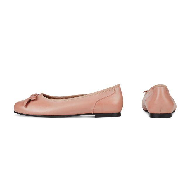 Ballerina mit Schleife Rosé – modischer und bequemer Schuh für Hallux valgus und empfindliche Füße von LaShoe.de
